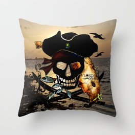 Fishing with a Florida Pirate Throw Pillow