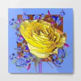GRAPHIC YELLOW ROSE BLUE FLOWERS BROWN ART Metal Print