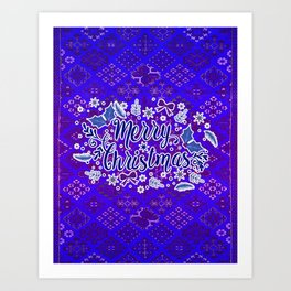 -A31- Merry Christmas Traditional Style. Art Print