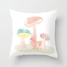 Mushrooms trees Throw Pillow