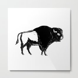 American Buffalo Side Woodcut Black and White Metal Print