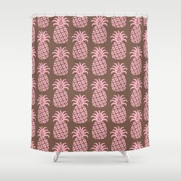 Mid Century Modern Pineapple Pattern Pink and Brown Shower Curtain