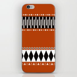 Bohemian orange, black&white tribal vibe iPhone Skin