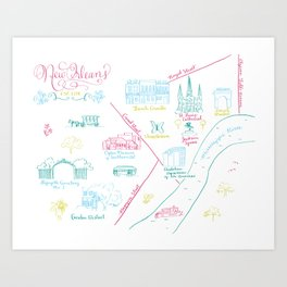New Orleans, Louisiana Illustrated Calligraphy Map Art Print