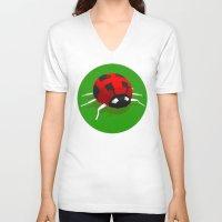 ladybug V-neck T-shirts featuring LADYBUG by Ken Forst