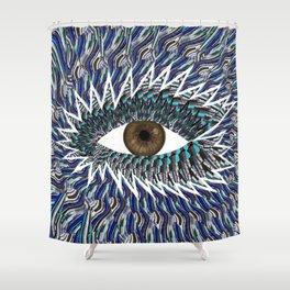 Origami Chakra Eye - Chocolate Brown Black Shower Curtain