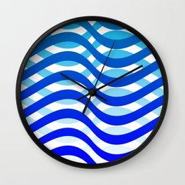 Waving Blue Pattern Wall Clock