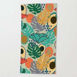 Monstera, fruits and flowers Beach Towel