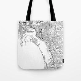 San Diego White Map Tote Bag
