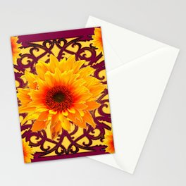 Maroon  Red Golden Sunflowers Yellow Pattern Art Stationery Cards