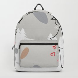 Romantic couple under umbrella, Flat design winter background Backpack