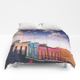 Sunny Blue Skies and New Orleans French Quarter Architecture Cityscape Comforters