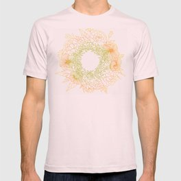 Tangerine and Olive Flowery Linocut Wreath T-shirt