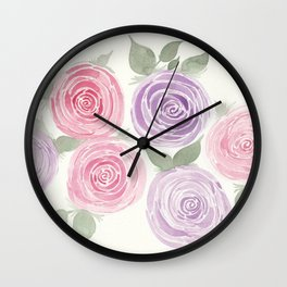 Pink and Purple Garden Roses Wall Clock