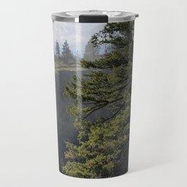 Beside The Falls, Beautiful Old Pine Tree Stands Sentry Beside A Watefall Travel Mug