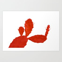 Cactus man with flower Art Print