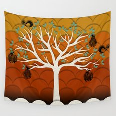 Fruits Talk White Wall Tapestry