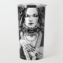 Smoker Lady. In Black Silk. Yury Fadeev Travel Mug