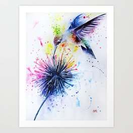 Hummingbird and Dandelion Art Print