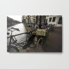 Heineken Bike on the Amsterdam Canals Metal Print