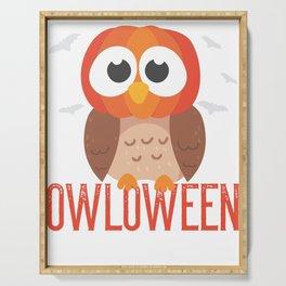 owl Halloween Owloween pumpkin head and bats Serving Tray