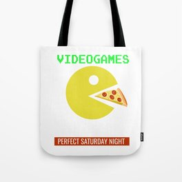 Videogames Pizza Gamers Computer Gaming Cheese Foodies Saturday night Gift Tote Bag