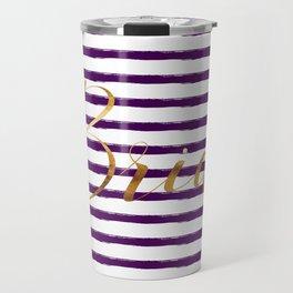 Bride & Stripes - Gold / Dark Plum Travel Mug