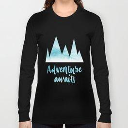 Adventure awaits blue watercolor Long Sleeve T-shirt
