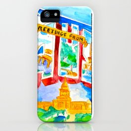 Greetings From Austin Mural watercolor iPhone Case