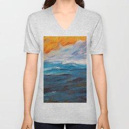 Ocean Sunset in Autumn landscape painting by Emil Nolde Unisex V-Neck