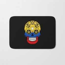 Sugar Skull with Roses and Flag of Colombia Bath Mat