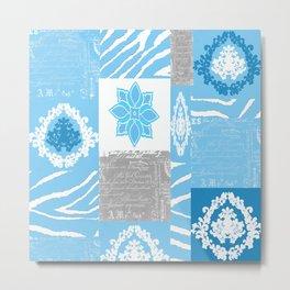 ANIMAL PRINT ZEBRA MULTI BLUE AND WHITE Metal Print