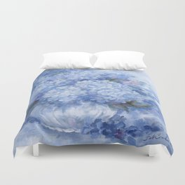 Hydrangeas in Blue Duvet Cover