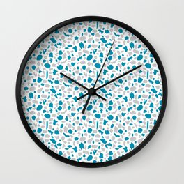 Terrazzo in Peacock Blue and Gray on White Wall Clock