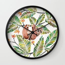 Happy Sloth – Tropical Green Rainforest Wall Clock