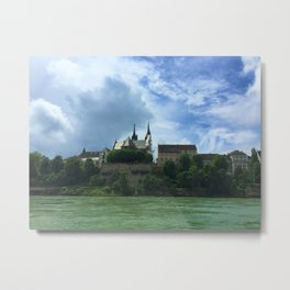 Crossing the Rhine River in Basel, Switzerland Metal Print