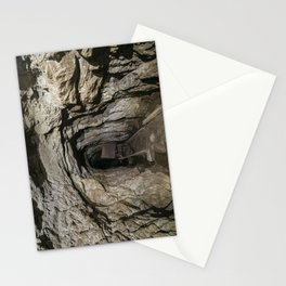 Mine cart in an old abandoned mine cave. Near Matlock, Derbyshire, UK. Stationery Cards