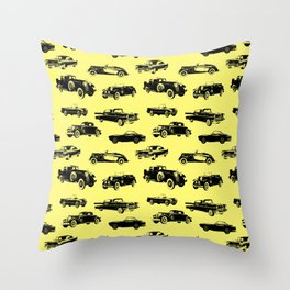 Classic Cars // Yellow Throw Pillow