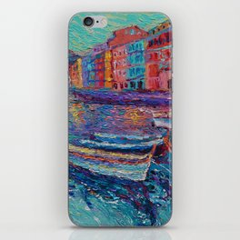 Sunset in Port of Vernazza - modern palette knife sea landscape of Italy by Adriana Dziuba iPhone Skin