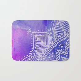 Mandala flower on watercolor background - purple and blue Bath Mat