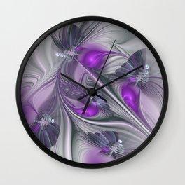Magic, Violet And Gray Fractals Art Abstract Wall Clock