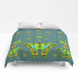 BLUE-GREEN-YELLOW PATTERNED MOTHS YELLOW SUNFLOWERS Comforters