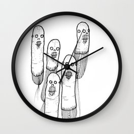 Imaginary Bean Creatures Illustration Wall Clock
