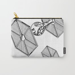 Starwars Tie Fighter Patent - Tie Fighter Art - Black And White Carry-All Pouch