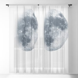 Waxing Gibbous   3/4 Moon   Classic Blue   Space   Watercolor Painting   Illustration Art Print Sheer Curtain