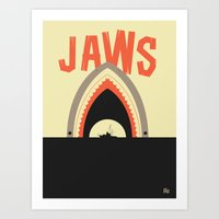 jaws Art Prints featuring Jaws by Ryder Doty