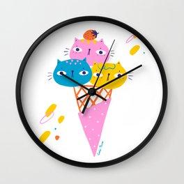 Gato Gelato - ice-cream cats Wall Clock