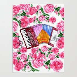 Accordion with pink roses Poster