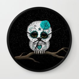 Adorable Teal Blue Day of the Dead Sugar Skull Owl Wall Clock
