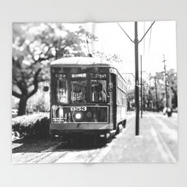 New Orleans St. Charles Streetcar Throw Blanket